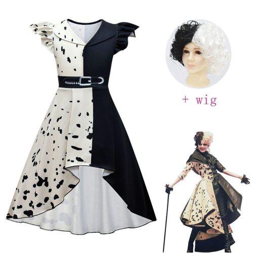 Movie Halloween Costumes For Kids Girls Cruella De Vil Cosplay Fancy Black White Maid Princess Dresses Outfits