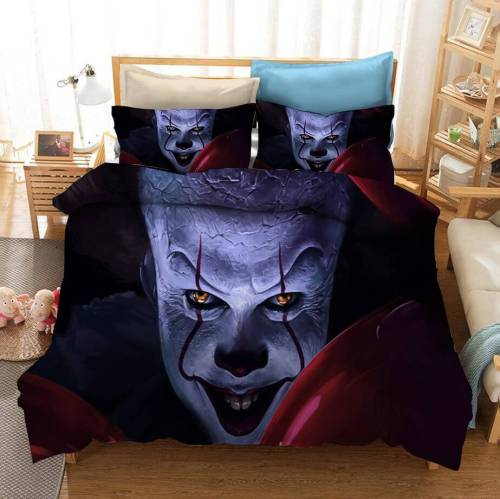 Stephen King'S It Pennywise Cosplay Bedding Set Duvet Cover Bed Sheets