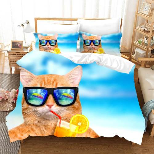 Lovely Animal Pet Cats Bedding Set Duvet Covers Comforter Bed Sheets