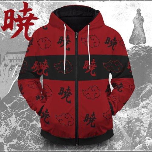 Naruto Anime Red Dawn Cosplay Unisex 3D Printed Hoodie Sweatshirt Jacket With Zipper