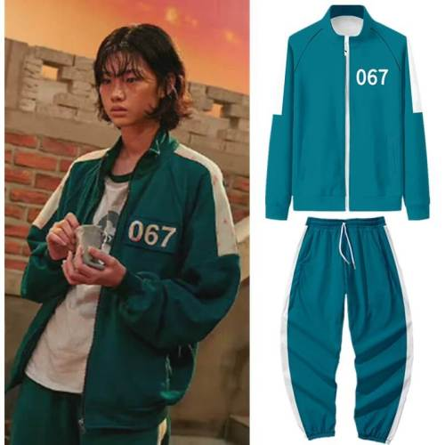 Squid Game 067 456 001 212 218 456 Hoodies Outfit Set Cosplay Costume