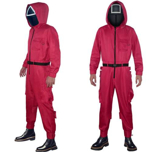 Squid Game Red Jumpsuit With Mask Cosplay Costume Round Six Outfit