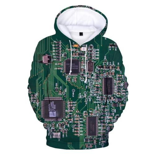 Electronic Chip 3D Printed Funny Hoodie Pullover