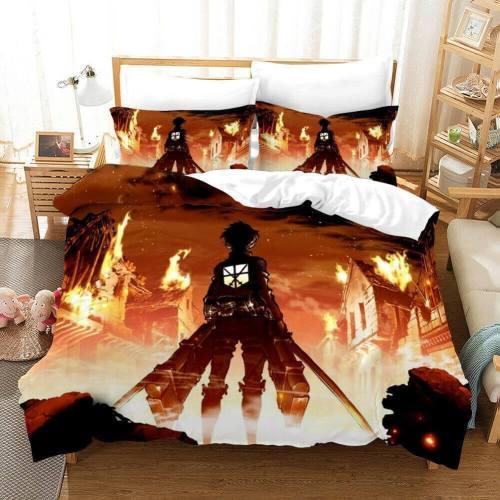 Anime Attack On Titan Bedding Set Duvet Covers Comforter Bed Sheets