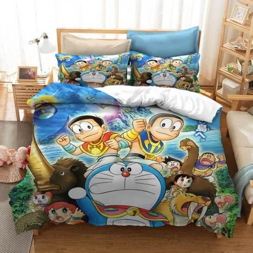 Cartoon Doraemon Cosplay Bedding Set Duvet Covers Comforter Bed Sheets