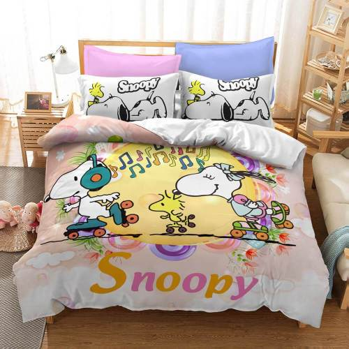 Cartoon Snoopy Cosplay Bedding Set Duvet Covers Comforter Bed Sheets