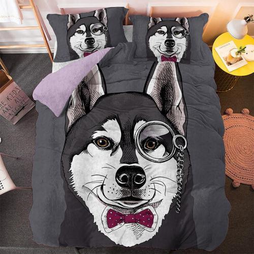 Cute Dog Cartoon Pug Bedding Set Duvet Covers Comforter Bed Sheets