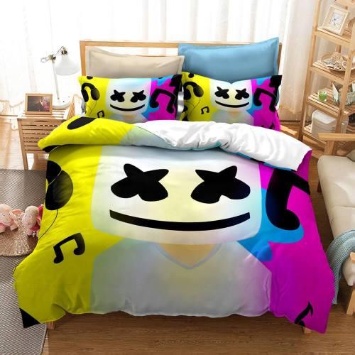 Dj Marshmello Cosplay Bedding Set Duvet Covers Comforter Bed Sheets