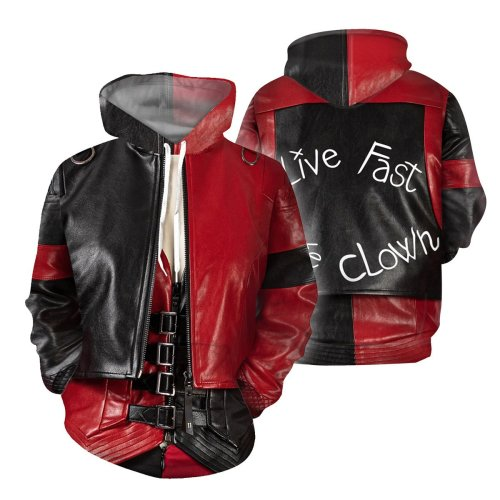 2 Pcs/Set The Suicide Squad Movie Harleen Quinzel Red Cosplay Unisex 3D Printed Hoodie Sweatshirt Pullover+Pant