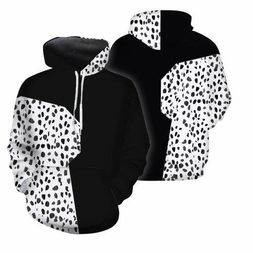 Cruella De Vil Movie Black And White Witch Cosplay Unisex 3D Printed Hoodie Sweatshirt Pullover