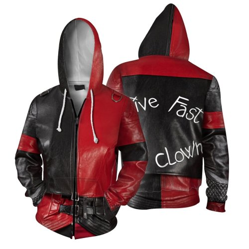 2 Pcs/Set The Suicide Squad Movie Harleen Quinzel Red Cosplay Unisex 3D Printed Hoodie Sweatshirt Jacket With Zipper+Pant