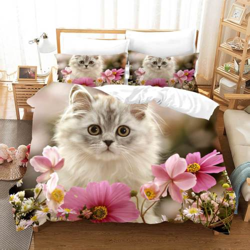 Cute Animal Pet Cats Bedding Set Duvet Covers Comforter Bed Sheets