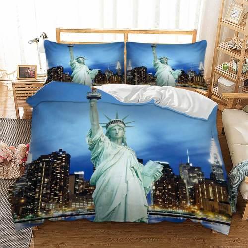 Statue Of Liberty City Building Bedding Set Duvet Covers Comforter