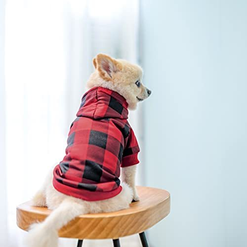Plaid Dog Hoodie - Warm Soft Dog Sweater Outfit with Hat, Autumn and Winter Pet Clothes with Leash Hole for Small Medium Large Dog Wearing