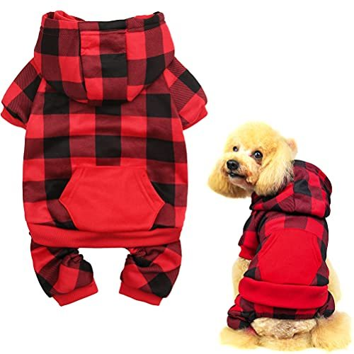PUPTECK Plaid Dog Hoodie - Soft Warm Pet Sweaters Dog Fleece Lining Vest Clothes with Hat for Small Medium Dogs Autumn and Witner Wearing