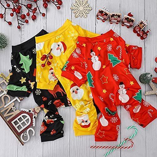 Christmas Dog Pajamas 3 Pieces Pet Clothes Costume Xmas Apparel Jumpsuit PuppyChristmasPajamas for Pet Holiday Decorations