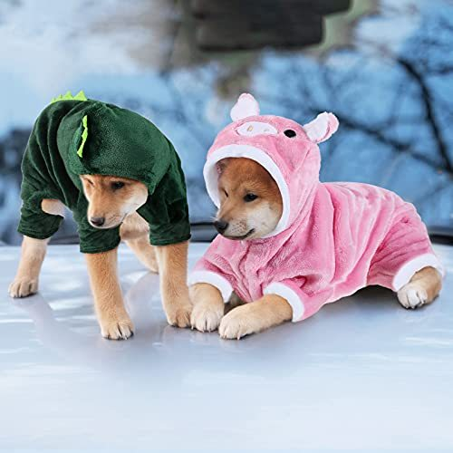 Dreaflet 2 Pieces Cute Dog Costume Cat Clothes Pink Pig Design PET Costume Dinosaur Clothing Costume Puppy Outfits PET Warm Hoodie Dress up Clothes for Puppies and Kitten