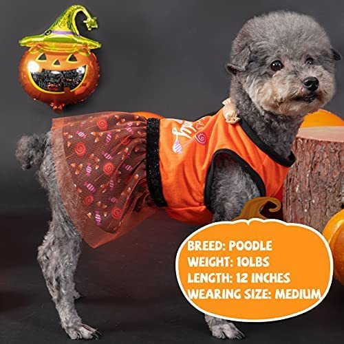 cyeollo Halloween Dog Dresses Sweet as Candy Cute Doggie Clothes Puppy Party Vest Dress Pet Cat Apparel XS