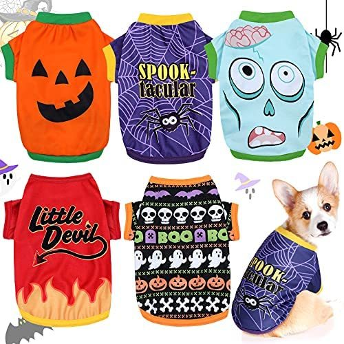 5 Pieces Halloween Dog Shirt Puppy Pet T-Shirt Halloween Ghost Pet Costume Cute Pumpkin Dog Clothes for Small Dogs Cats Pet Apparel Halloween Party Cosplay