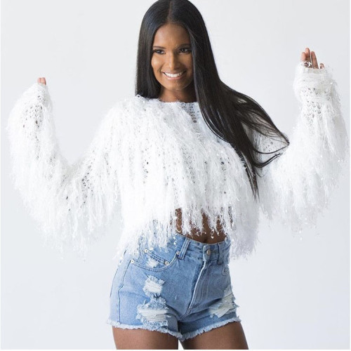 White Fringe Crop Sweater