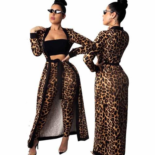 Leopard Long Cloak and Pants Set(3pcs Set)