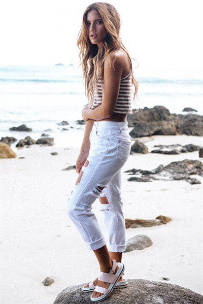 LE5807-2 White Extreme Damaged Specially Jeans
