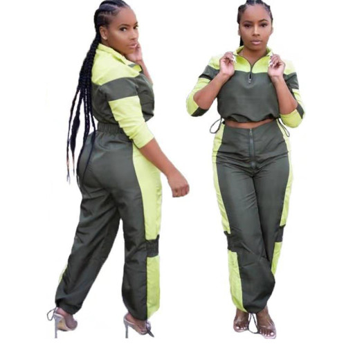 Army Green / Yellow Stitching Casual Sports Set