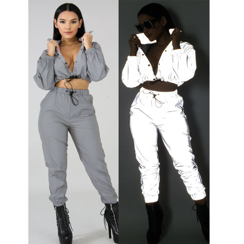 Stylish Hipster Reflective Button pocket Two Piece Sets