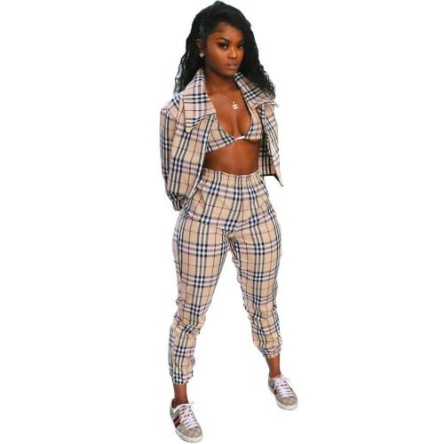 Khaki Checks Three-Piece Pant Set