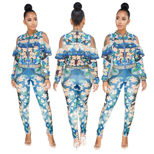 Flower Print Tracksuit with Sleeves