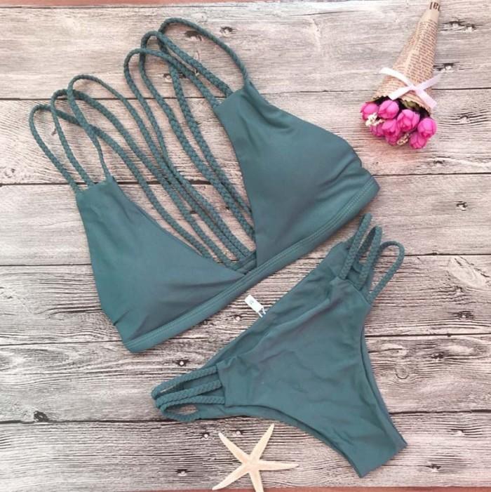 Solid Braided Back Triangle Halter Bikini Set LE42907