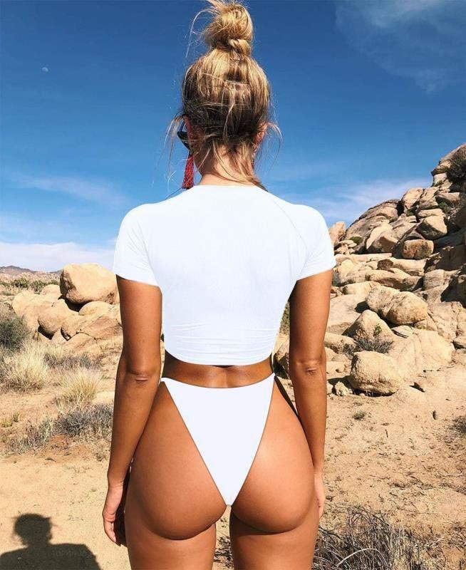Solid Short Sleeve Crop Two Piece Swimwear