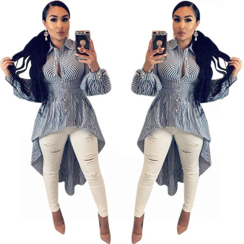 High Low Strippes Long Blouse
