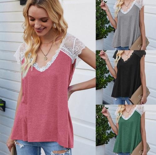 Women Stitching Eyelashes Lace Loose Vest T-shirt