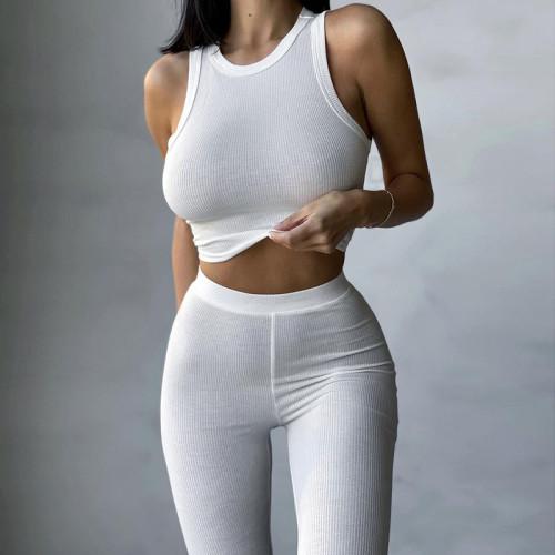 rib knit crop top and long pant set