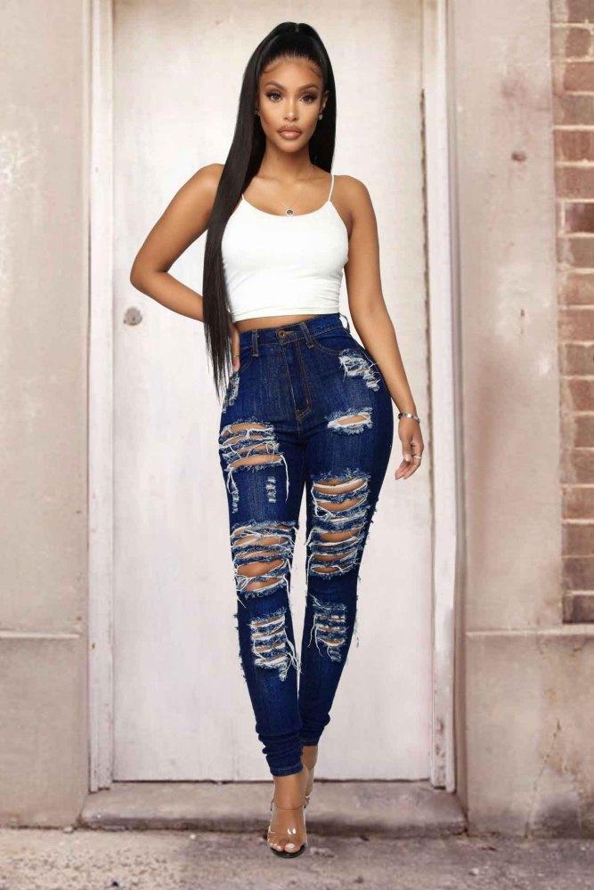skinny Ripped denim Pencil plus size pants women's jeans
