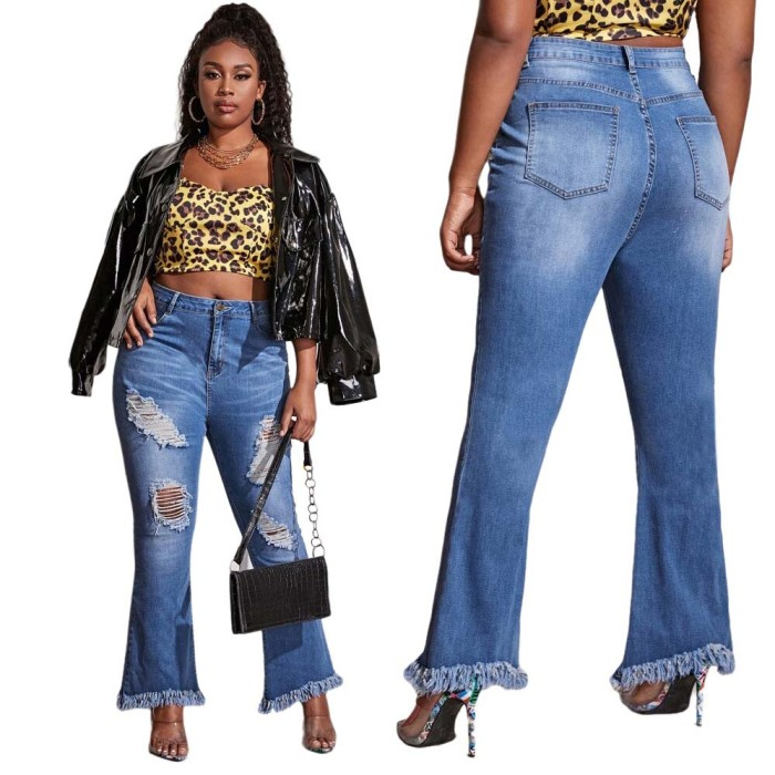 Ripped Bell Bottom Washed Jeans