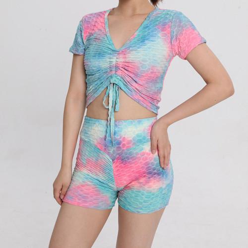 Drawstring Short-sleeved Tie-Dye Sports Shorts Yoga Set