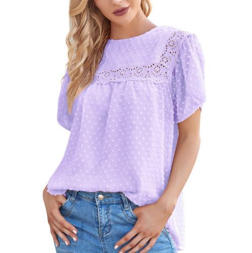 Double Chiffon Short Sleeved Lace Shirt