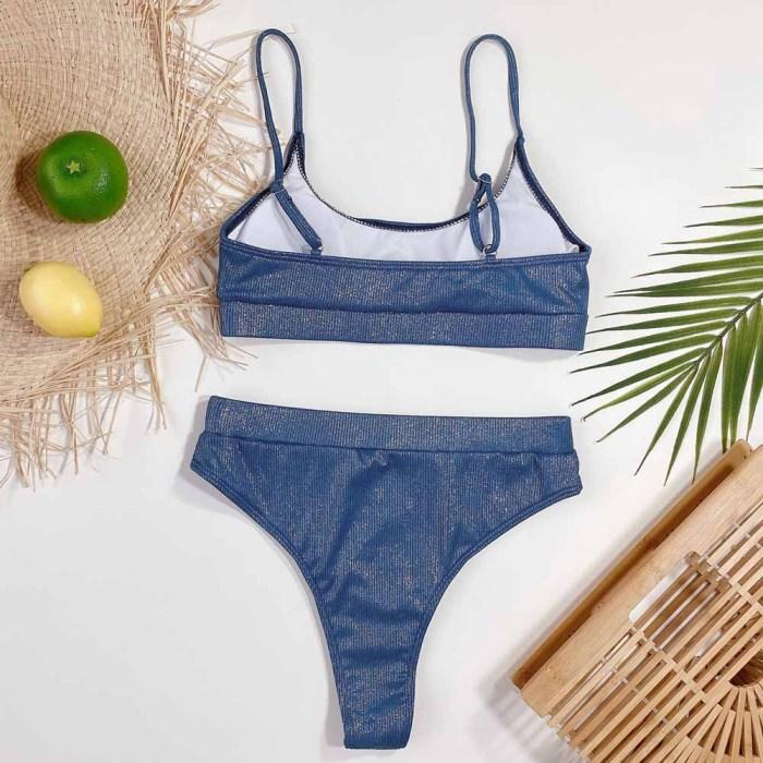 2PC Blue Metallic High Waist Strap Swimwear