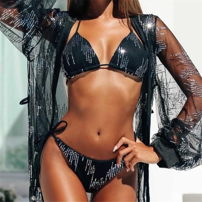Black Strappy Diamond Bikini