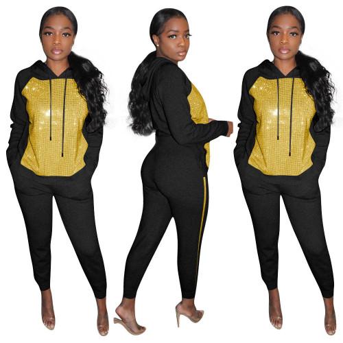 Women Long Sleeve Tracksuit Sequin Sporty 2 Piece Suit