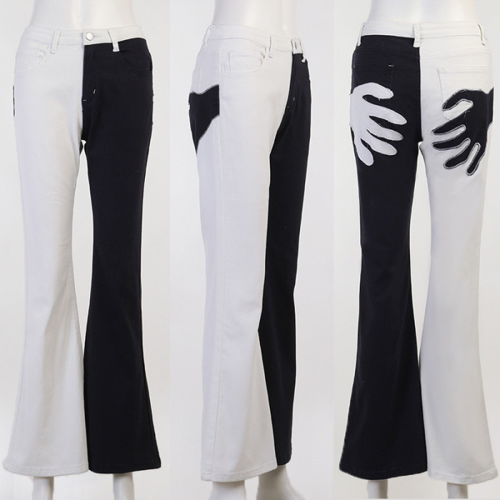 Autumn Palm Embroidered Slim High Waist Two-color Stitching Jeans