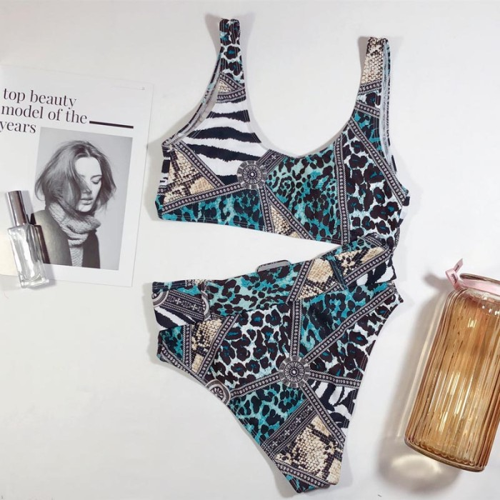 Print Retro High Waist Swimwear with Belt
