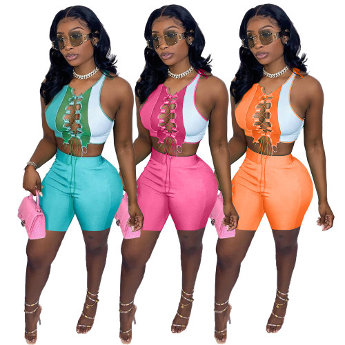 lace up and shorts  2 piece outfit