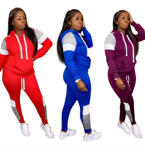 Fashion Leisure Motion Hooded Wholesale Women's Clothing Two pieces Sets Sportswear