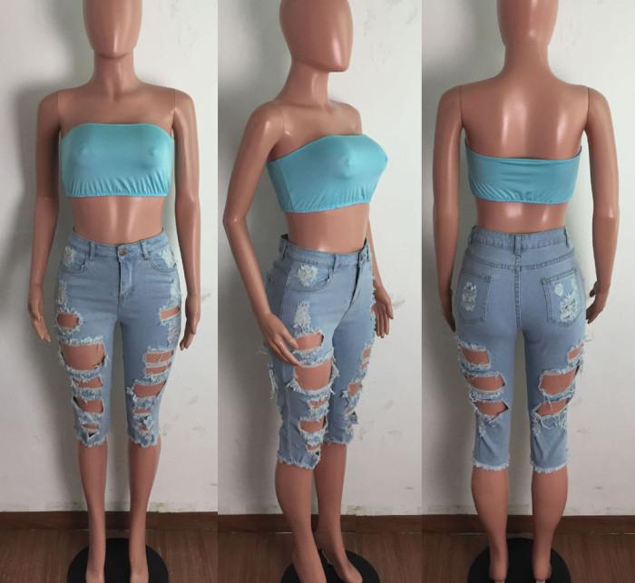 Knee Length High Waist Ripped Denim Shorts
