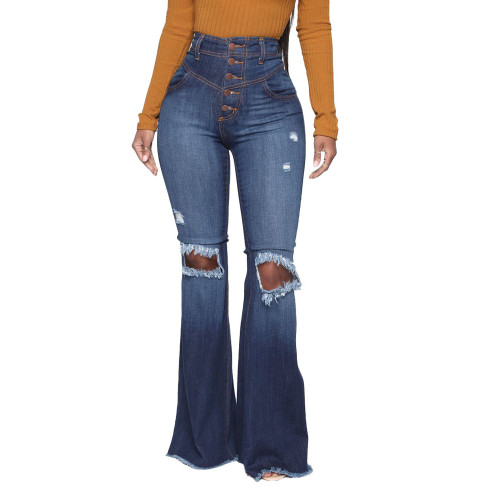 Winter Blue Washed High Waist Ripped Flare Jeans