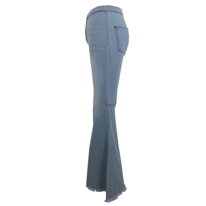 Wholesale Women Flare Pants Distressed Bell Bottom Wide Leg Denim Jeans