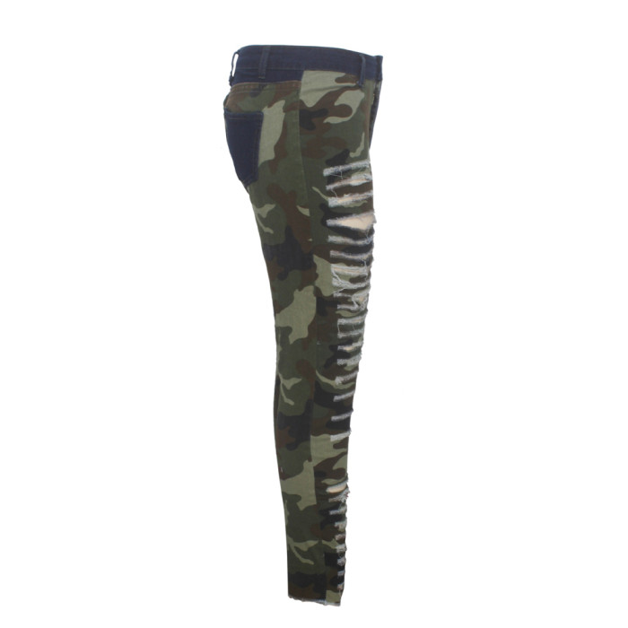 Destroyed High Waist Skinny Camouflage Jeans